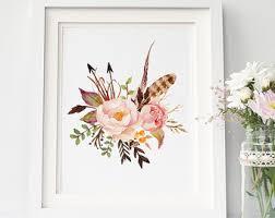 Boho Art Print Watercolor Botanical Printable Floral Nursery