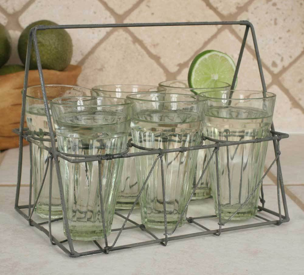 Colonial Tin Works Farmhouse Wire Caddy with Juice Glasses Set - 6oz