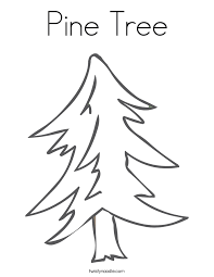 Christmas Tree Coloring Page Print by Pine Tree Coloring Page Twisty Noodle