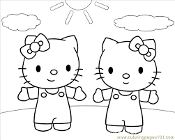 Printable Coloring Page Hello Kitty And Mimmy Cartoons