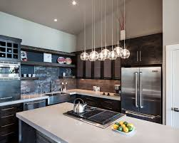 Kitchen Island Lighting Pendants Features L Shaped Black Cabinet Along With Sink Refrigerator And Oven