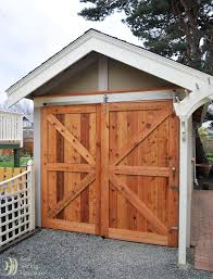 large barn doors on an outdoor shed right door slides over fixed