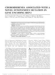 PDF CHOROIDEREMIA ASSOCIATED WITH A NOVEL