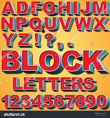 Alphabet Set 3d Block Letters Numbers Stock Vector