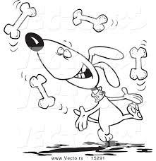 Vector Of A Cartoon Dog Juggling Bones