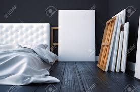 3d schlafzimmer mit einem bett und die bilder auf dem boden und wand machen mockup studio künstler