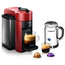 Nespresso VertuoLine Evoluo Cherry Red Coffee And Espresso Maker Bundle With Aeroccino Plus Frother