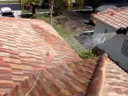 chemically cleaning a tile roof and pressure washing a driveway in