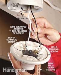Keyless Lamp Holder Ground by How To Replace A Pull Chain Light Fixture Family Handyman
