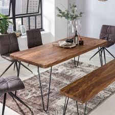 wohnling esstisch bagli massivholz sheesham 120 cm esszimmer tisch holztisch metallbeine küchentisch landhaus dunkel braun
