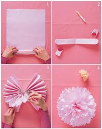 Tutorial DIY Tissue Paper Pom Poms This Is Pretty Good Use Square Sheets Or For A Rounder Tie The Middle With Ribbon And Tied