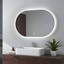 emke led badspiegel 90x60cm badezimmerspiegel mit beleuchtung warmweissen lichtspiegel wandspiegel spiegel oval typ a 90x60cm touchschalter 3