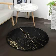 mnsruu teppich rund marmor schwarz gold für wohnzimmer schlafzimmer 92 cm durchmesser
