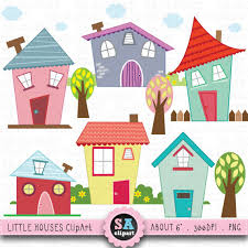 Little Houses Digital Clip Art HOUSES CLIP ART Set Clipart Cute House Perfect For Scrapbookinginvitationsparty Card Bd001