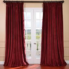 Burgundy Grommet Blackout Curtains by Half Price Drapes Signature Double Wide Velvet Blackout Curtain