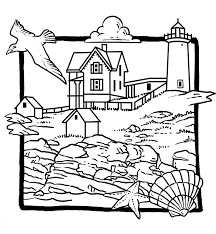 Beach Lighthouse Coloring Pages