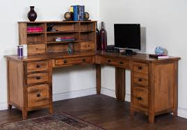 Sedona Rustic Oak Wood Office Desk W Hutch Click To Enlarge Loading
