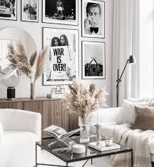 schwarz weiß bilderwand ikonische vintage poster schwarze metallrahmen