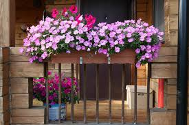 Flower Box Placed On The Railing Of A Small Balcony Rustic Home Filled With