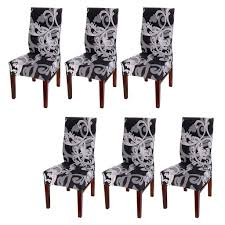 Amazon.com: BTSKY Fabric Stretch Dining Room Chair Covers- Set Of 6 ...