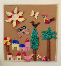 Corkboard Kids Mural With Tissue Paper Cr