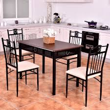 US $194.99 |Goplus 5 Piece Kitchen Dining Set Wood Metal Table And 4 Chairs  Kitchen Breakfast Modern Dining Room Furniture Set HW56524 On ... Jack Daniels Whiskey Barrel Table With 4 Stave Chairs And Metal Footrest Ask For Freight Quote Goplus 5 Pcs Black Ding Room Set Modern Wooden Steel Frame Home Kitchen Fniture Hw54791 30 Round Silver Inoutdoor Cafe 0075modern White High Gloss 2 Outdoor Table Chairs Metal Cafe Two Stock Photo 70199 Alamy Stainless 6 Arctic I Crosley Kaplan 4piece Patio Seating Oatmeal Cushion Loveseat 2chairs Coffee Rustic And Pieces Glass Tabletop Diy Patterns Pads Brown Tufted Target Grey