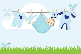 Clipart Baby Boy Hanging Clothesline Outside