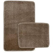 badgarnitur 2 teilig braun badematte badeteppich öko tex duschvorleger wc vorleger 2 er set 50 x 80 cm und 40 x 50 cm beige