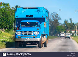 Vintage Cuban Truck Driving On A Country Road During The Day. Most ...