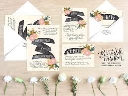 Printable Wedding Invitation Suite Floral Invite Vintage Style Rustic RSVP Card DIY Digital Set Wisdom