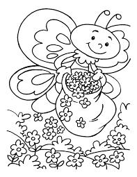 Honeybee In Flower Garden Coloring Pages