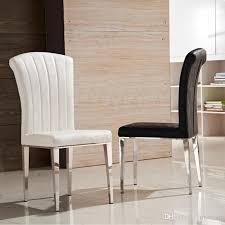 großhandel premium edelstahl leder esszimmerstühle luxus schwarz und weiß pu leder stuhl hohe elastische rücken esszimmerstühle wohnzimmermöbel