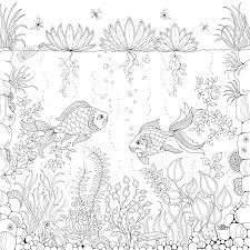 Fish Under Water Coloring Pages Colouring Adult Detailed Advanced Printable