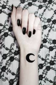 Grunge Goth Black And White Tattoo Moon Small