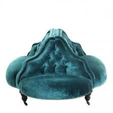 canapé circulaire canapé eugénie circulaire en velours capitonné bleu pétrole style