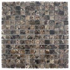 Dark Emperidor Squares 12 In X 8 Mm Marble Floor And