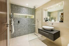 Beige Bathroom Tile Ideas by Awesome Mosaic Shower Tile With Beige Bathroom Wall Mounted Cabinet