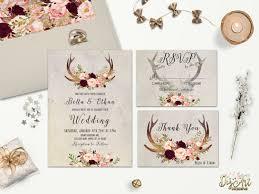 Rustic Wedding Invitation Printable Floral Antler