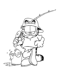 Garfield The Cat Want To Fishing Coloring Pages