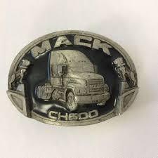 100 Truck Belt Mack Buckle CH 600 Vintage 80s Bulldogs Sliver Tone