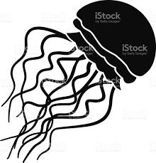 vector jellyfish icon stencil in black and white royalty free vector jellyfish icon stencil in