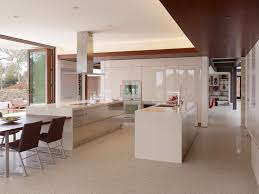 Terrazzo Floor Kitchen Modern With Glossy Cabinets Caeserstone Countertops