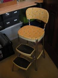 Cosco Retro Chair With Step Stool Yellow by Vintage Kitchen Step Stool Chair Today