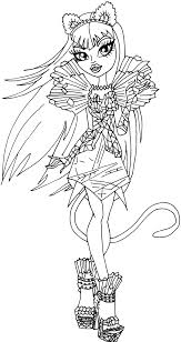 Monster High Coloring Pages Frankie Stein 13 Wishes East Line Drawings