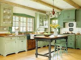 Antique Iron Chandelier With Rustic Island Table For French Provincial Kitchen Ideas Mint Green Cabinet Design