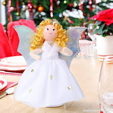 OurWarm Mini Angel Christmas Tree Topper Little 7 Inch Small Remembrance Figure For Trees