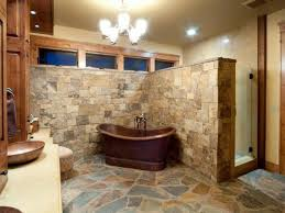 Rustic Bathroom With Stone Wall