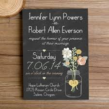 Boho Mason Jars Rustic Floral Chalkboard Wedding Invitations EWI344