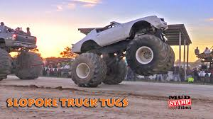 MASSIVE Trucks In Epic Tug Of War @ Slopoke Mud Boggin Trucks Gone ...