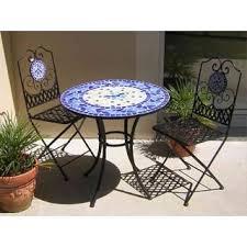 table ronde mosaique fer forge table de jardin fer forgé et mosaïque bleue ø76 achat vente
